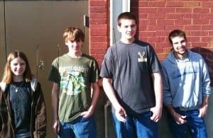 2009-2010 Club Officers (L-R): Morgan Melton, Secretary; Kody Mason, Treasurer; Blaine Markham, President; Josh Mullins, VP